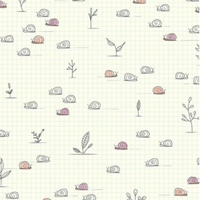 Picture of Gnome Matter What Gnomes Tiny Snails Beige Cotton Fabric