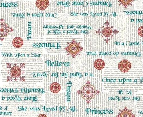 Picture of Royal Princess Phrases Dreams Do Come True White Cotton Fabric