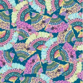 Fanfare Oriental Fans in Pastel Colors on Dark Teal Cotton Fabric