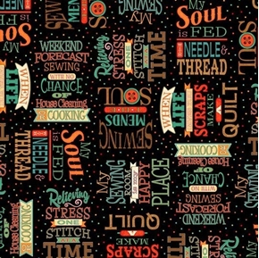 Picture of Sewing Mends the Soul Sewing Words Quilting Quotes Black Cotton Fabric