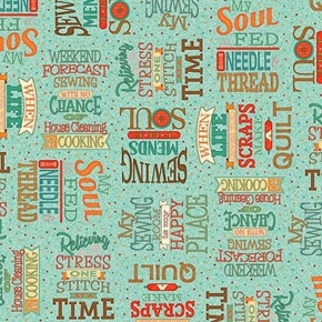 Picture of Sewing Mends the Soul Sewing Words Quilting Quotes Teal Cotton Fabric