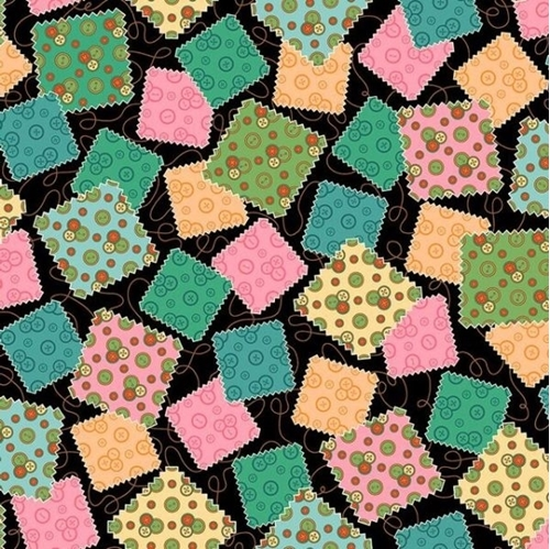Sewing Mends the Soul Fabric Squares Patches Black Cotton Fabric