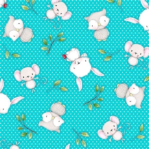 Picture of Hangin' Out Animal Toss Bunny Mouse Owl Turquoise Cotton Fabric