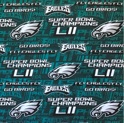 Picture of NFL Football Philadelphia Eagles Rare Superbowl Champs Cotton Fabric