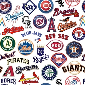 MLB Baseball All Team Licensed Logos White Digital Cotton Fabric