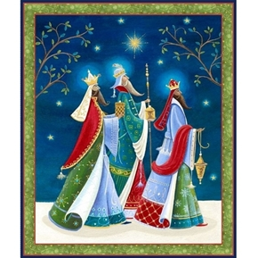 Picture of Three Wise Men Christmas Holiday Large Cotton Fabric Panel