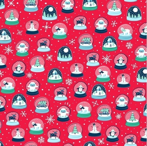 Picture of Twinkle Twinkle Snow Globes Christmas Holiday Red Cotton Fabric