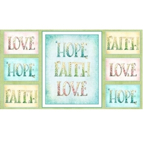 Sweet Thoughts Faith Hope Love Pastel 24x44 Cotton Fabric  Panel