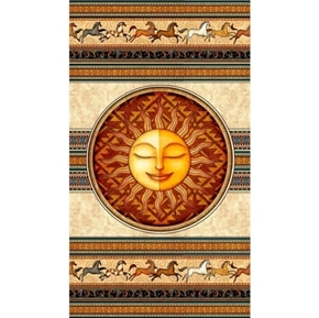 Southwest Soul Sun and Horses Aztec 24x44 Cotton Fabric Panel