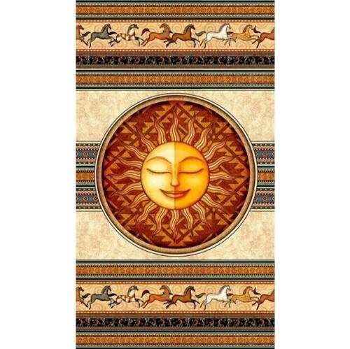 Southwest Soul Sun and Horses Aztec 24x44 Cotton Fabric Panel