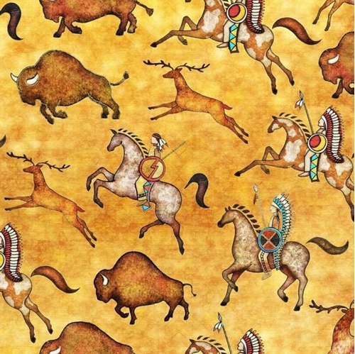 Picture of Southwest Soul Bison Run Buffalo Horse Aztec Yellow Cotton Fabric