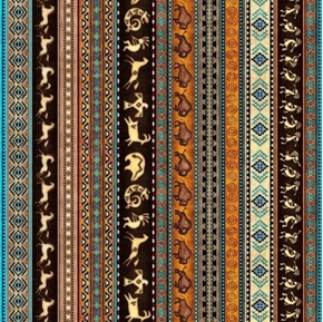Picture of Southwest Soul Southwest Decorative Stripe Aztec Cotton Fabric