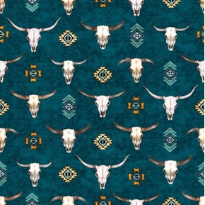 Picture of Southwest Soul Longhorns Cattle Skulls Aztec Teal Cotton Fabric