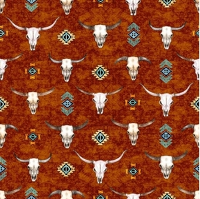Southwest Soul Longhorns Cattle Skulls Aztec Rust Cotton Fabric
