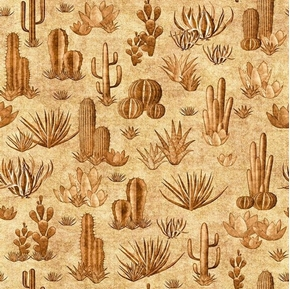 Picture of Southwest Soul Cactus Dessert Succulents Aztec Beige Cotton Fabric