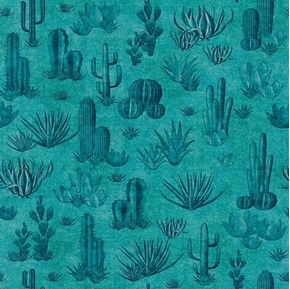 Southwest Soul Cactus Dessert Succulents Aztec Teal Cotton Fabric