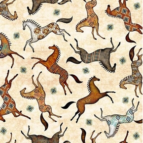 Picture of Southwest Soul Painted Ponies Aztec Horses Cream Cotton Fabric