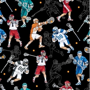 Picture of Stick With It Lacrosse Athletes Playing Lax Black Cotton Fabric