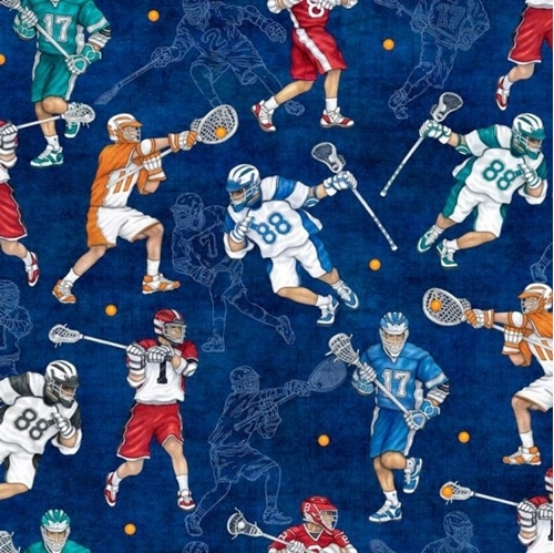 Picture of Stick With It Lacrosse Athletes Playing Lax Royal Blue Cotton Fabric