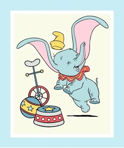 Picture of Disney Classic Dumbo Circus Bike and Ball Large Cotton Fabric Panel