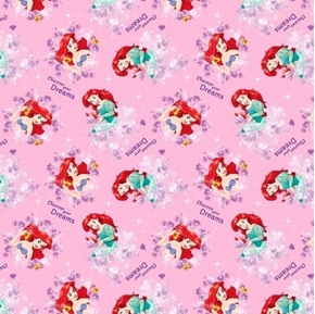 Disney Little Mermaid Discover Your Dreams Ariel Pink Cotton Fabric