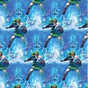 Nintendo Zelda Skyward Sword Mystical Blue Cotton Fabric