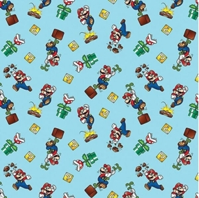Picture of Nintendo Super Mario Toss Bricks Flower Pots Blue Video Cotton Fabric
