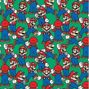 Picture of Nintendo Super Mario Packed Video Game Green Cotton Fabric