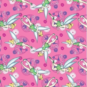 Disney Tinkerbell Allover Tink and Flowers Pink Cotton Fabric