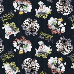 Disney Villains Schooled in Cruel Ursula Maleficent Cotton Fabric