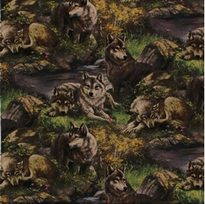 Wild Wings Lazy Afternoon Wolf Family Large Wolves Cotton Fabric