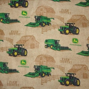 Picture of John Deere Farm Country Tractors Combines Barns Brown Cotton Fabric