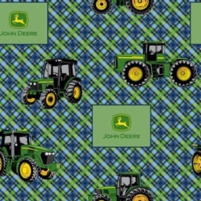 Picture of John Deere Tractors and Logos Green and Navy Plaid Cotton Fabric