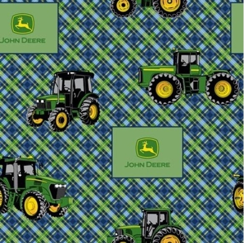 John Deere Tractors and Logos Green and Navy Plaid Cotton Fabric