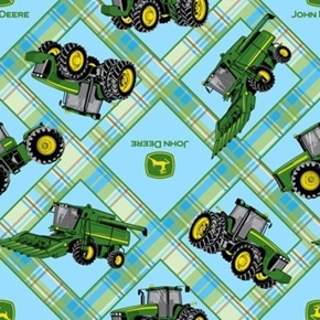 Picture of John Deere Tractor Logo Farm Equipment Light Blue Plaid Cotton Fabric