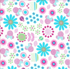 Disney Minnie Mouse Minnie Pastel Tossed Floral Cotton Fabric