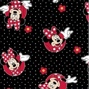 Picture of Disney Minnie Mouse Minnie Black and Red Flowers Dots Cotton Fabric