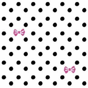 Picture of Disney Minnie Mouse Pink Bows and Black Dots on White Cotton Fabric
