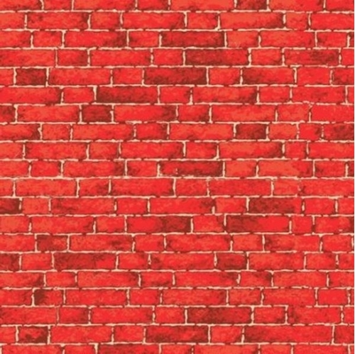 224 & Nintendo Pizza Brick House Brick Wall Red Bricks Cotton Fabric