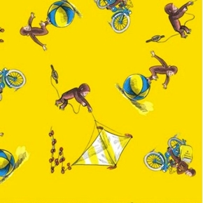 Picture of Curious George Classic George Kite and Ball Yellow Cotton Fabric