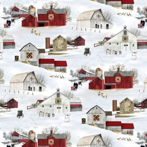 Headin Home Amish Buggies Country Barns in the Snow Cotton Fabric