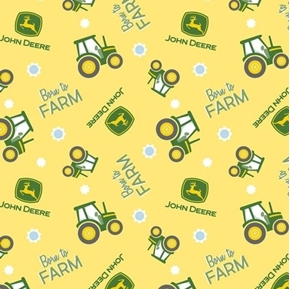 Picture of John Deere Nursery Born to Farm Toss Tractor Yellow Cotton Fabric