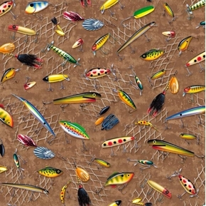 Picture of So Many Fish, So Little Time Fishing Lures on Brown Cotton Fabric