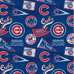 MLB Baseball Chicago Cubs Distress Look 2018 18x29 Cotton Fabric