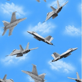 Air Show Boeing Military Fighter Jets on a Blue Sky Cotton Fabric