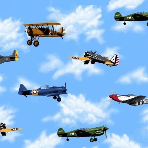 Picture of Air Show Boeing Antique Planes Vintage Military Aircraft Cotton Fabric