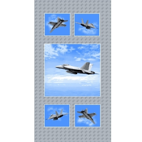 Air Show Boeing Fighter Jet Blocks Military 24x44 Cotton Fabric Panel