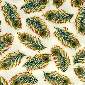 Palais Jardin Gold Metallic Peacock Feathers on Ivory Cotton Fabric