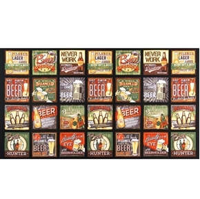 Cheers Beer Signs and Comical Slogans 24x44 Cotton Fabric Panel