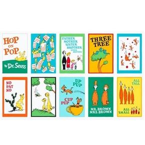 Hop on Pop Dr Seuss Storybook Blocks 24x44 Cotton Fabric Panel